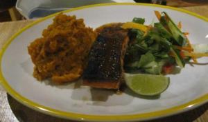 Salmon with sweet potato mash and salad. Yum