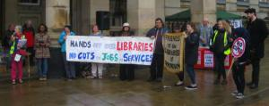 Rally against library cuts outside Birmingham Council House
